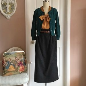 Vintage High waisted 1980's Wool Pencil Skirt